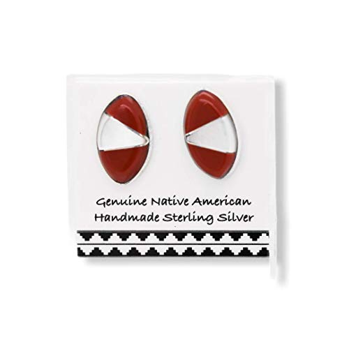 Genuine Red Coral and Moonstone Stud Earrings, 925 Sterling Silver, Native American USA Handmade, Nickel Free