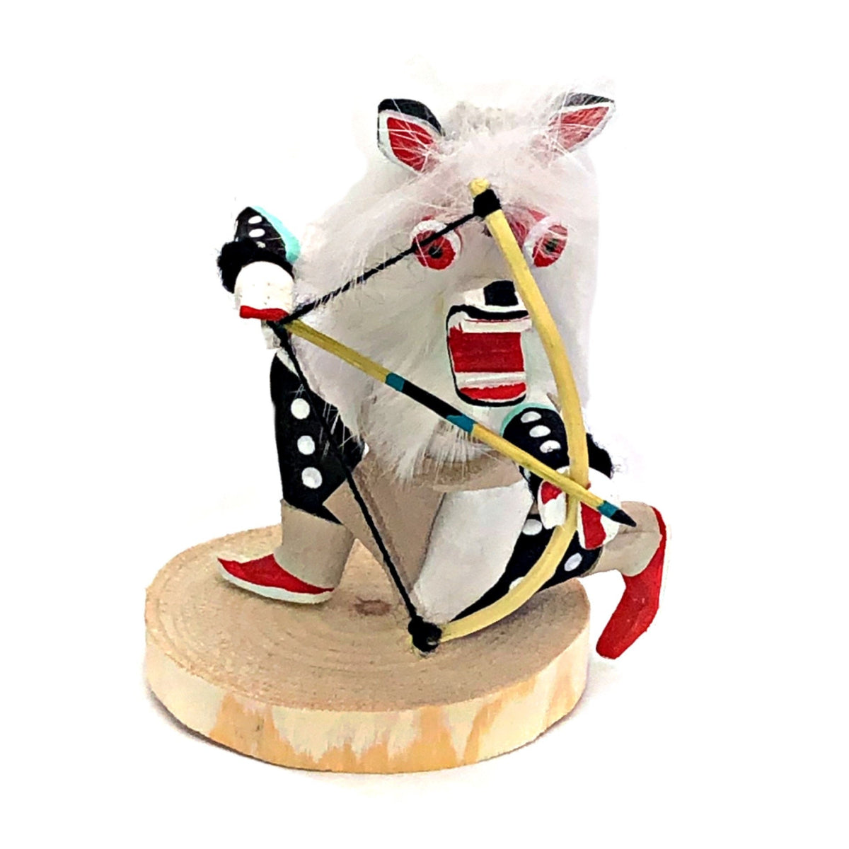 4 Inch Genuine Crouching White Wolf Kachina Doll, Navajo Native American Tribe Handmade in the USA, Artist Signed, Natural Materials