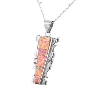 Pink Desert Opal Necklace, Pendant and Chain Set, 925 Sterling Silver, Native American USA Handmade, Nickle Free, Synthetic Opal