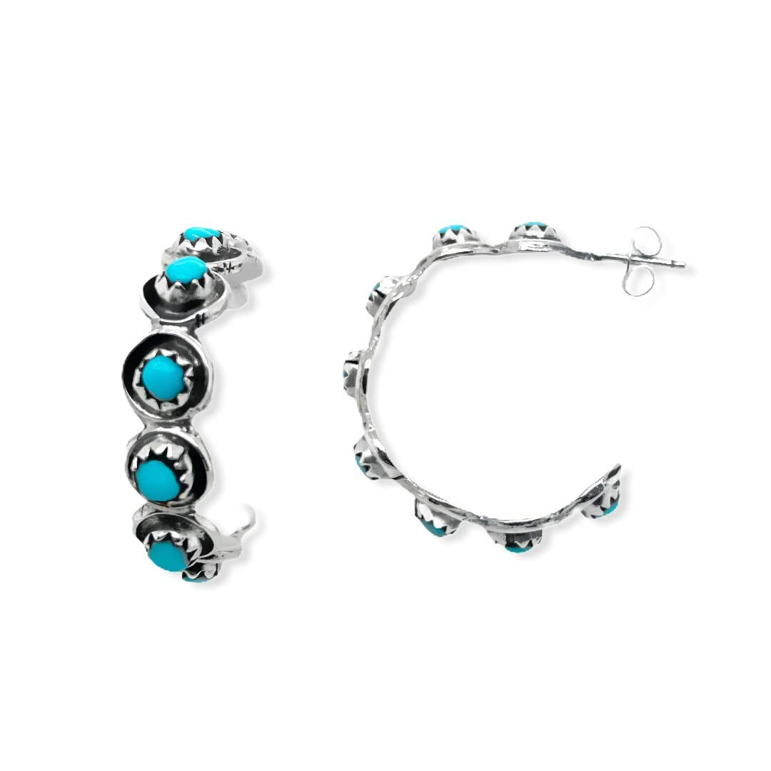 Sleeping Beauty Turquoise Half Hoop Earrings, Sterling Silver, Native American Handmade, Genuine Stone, Nickle Free