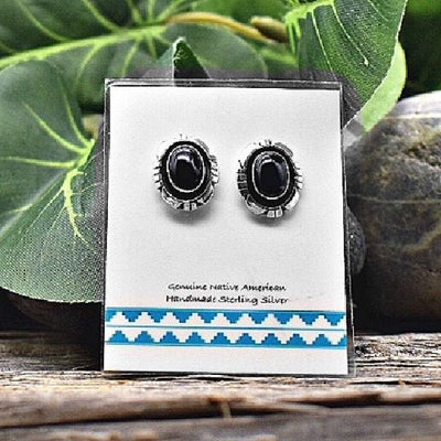 Genuine Black Onyx Stud Earrings in 925 Sterling Silver, Native American USA Handmade, Nickle Free, Oval