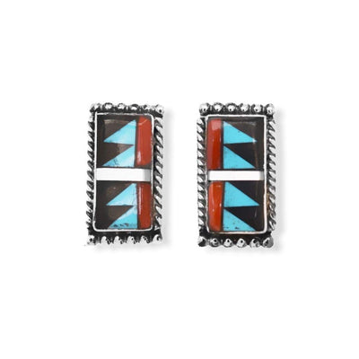 Genuine Sleeping Beauty Turquoise, Onyx, and Coral Earrings, Sterling Silver, Small Batch Handmade, Authentic Native American Zuni Inlay, Nickle Free