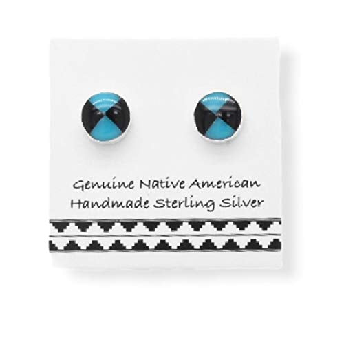 5mm Genuine Sleeping Beauty Turquoise and Onyx Earrings in 925 Sterling Silver, Authentic Native American Handmade in the USA, Nickle Free
