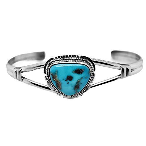 Genuine Kingman Turquoise Cuff Bracelet, Sterling Silver, Authentic Navajo Native American USA Handmade, Artist Signed, One of a Kind, Size Women's Large
