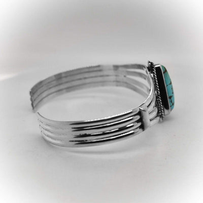 Genuine Royston Turquoise Cuff Bracelet, Sterling Silver, Authentic Navajo Native American USA Handmade, Artist Signed, One of a Kind, Size Women's Medium