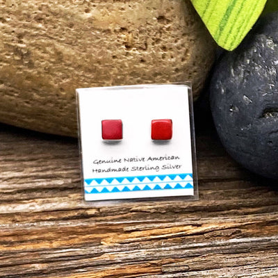 5mm Genuine Red Coral Stud Earrings in 925 Sterling Silver, Square Style, Native American USA Handmade, Nickle Free