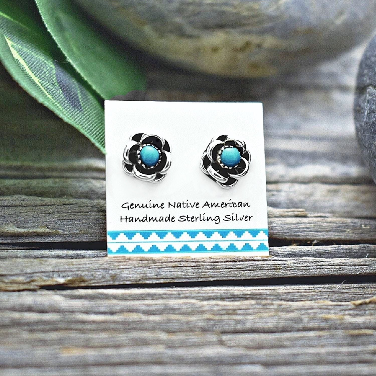 Small Genuine Sleeping Beauty Turquoise Flower Stud Earrings in 925 Sterling Silver, Authentic Native American Handmade, Nickle Free