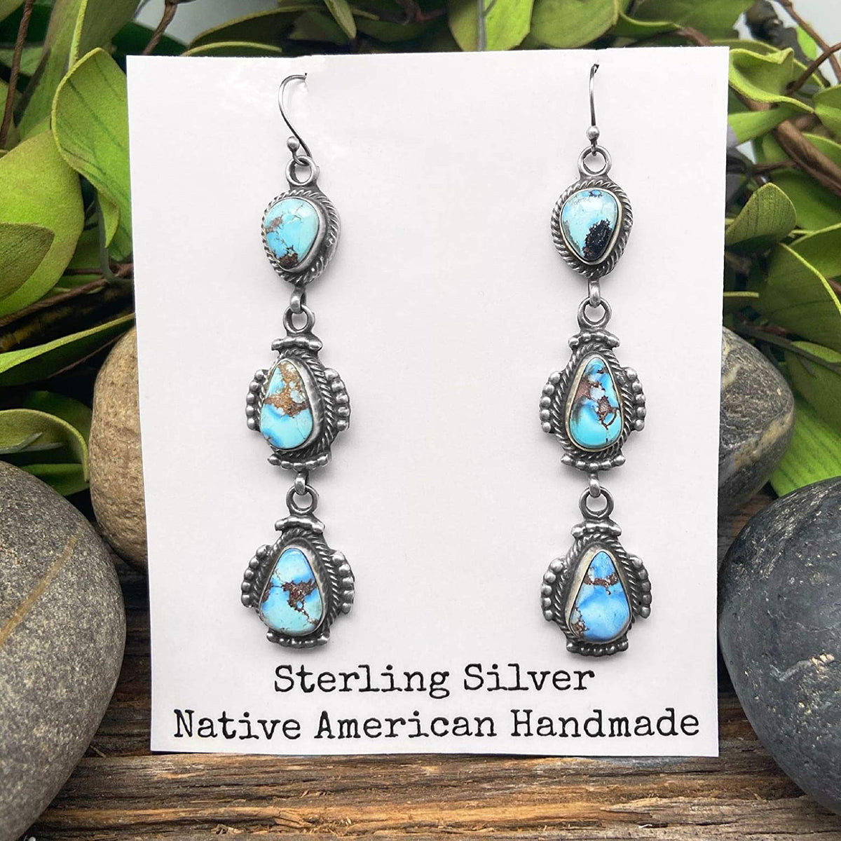 Genuine Golden Hill Turquoise Statement Earrings, Sterling Silver, Authentic Navajo Native American USA Handmade, Artist Signed, French Hook, Nickel Free