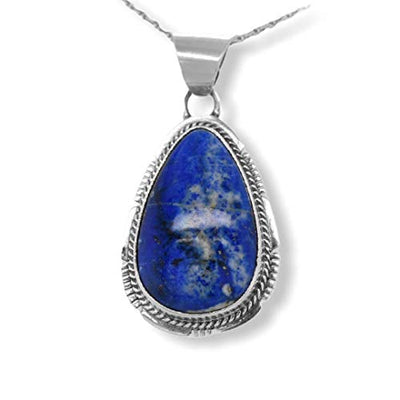 Genuine Lapis Lazuli Necklace Set, Pendant with Chain, Navajo Native American USA Handmade, 925 Sterling Silver, Artist Signed, Natural Stone, Nickle Free