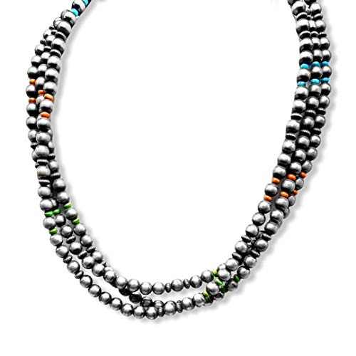 20 inch, 3 Strand, Genuine Navajo Pearl Necklace with Turquoise, Gaspeite, and Spiny Oyster, Sterling Silver, Authentic Navajo Native American USA Handmade in New Mexico