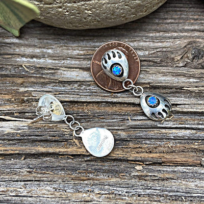 Desert Opal Double Bear Paw Earrings, 925 Sterling Silver, Native American USA Handmade, Nickle Free, Dark, Blue Synthetic Opal