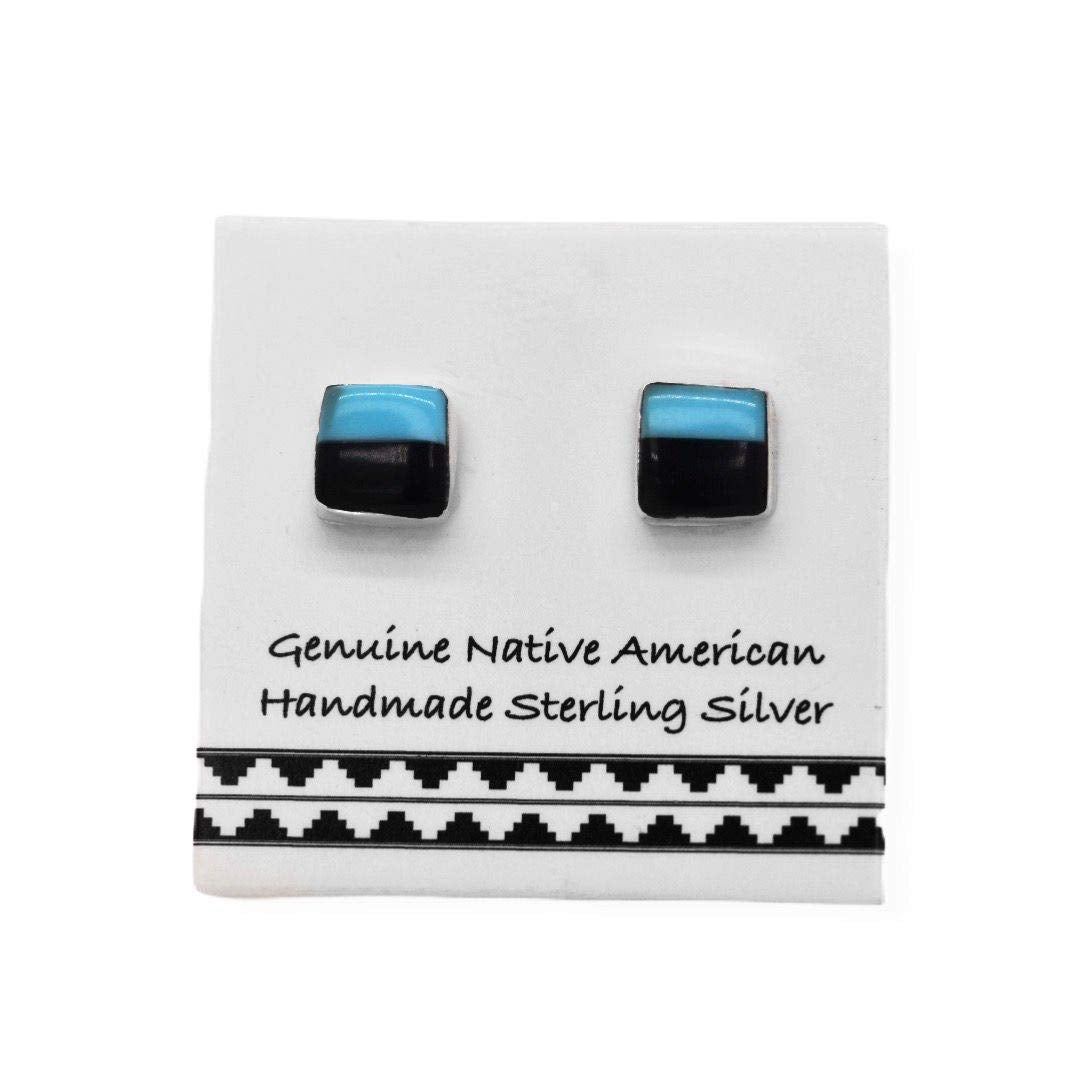5mm Genuine Sleeping Beauty Turquoise and Onyx Stud Earrings in 925 Sterling Silver, Native American USA Handmade, Nickle Free, Square