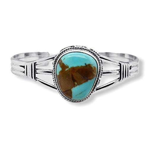 Genuine Royston Turquoise Cuff Bracelet, Sterling Silver, Authentic Navajo Native American USA Handmade, Artist Signed, One of a Kind, Size Women's Small