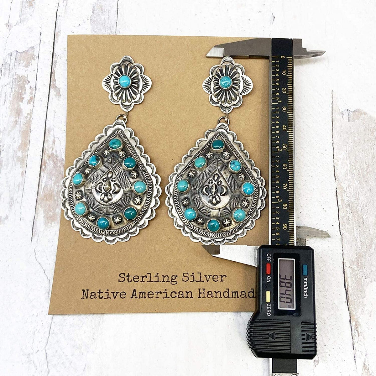 Genuine Sleeping Beauty Turquoise Statement Earrings, Oxidized Sterling Silver, Authentic Navajo Native American USA Handmade, Artist Signed, Nickle Free, Southwest Vintage Style