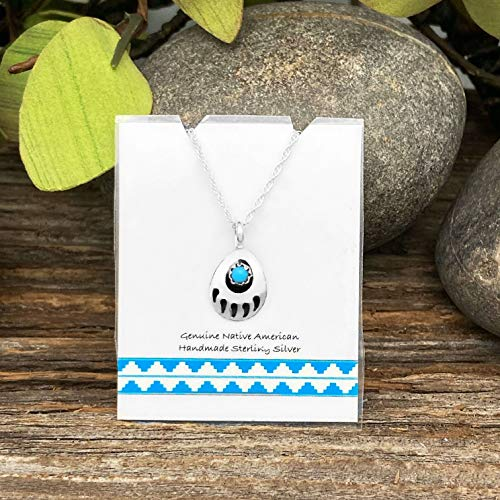 Genuine Sleeping Beauty Bear Paw Necklace, Pendant and Chain Set, 925 Sterling Silver, Native American USA Handmade, Nickle Free