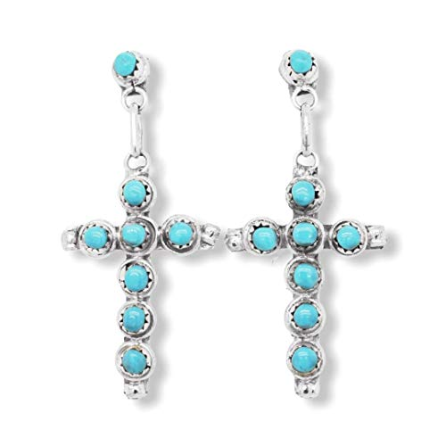 Genuine Sleeping Beauty Turquoise Cross Earrings, 925 Sterling Silver, Artisan Signed, Native American USA Handmade, Post Style, Nickle Free