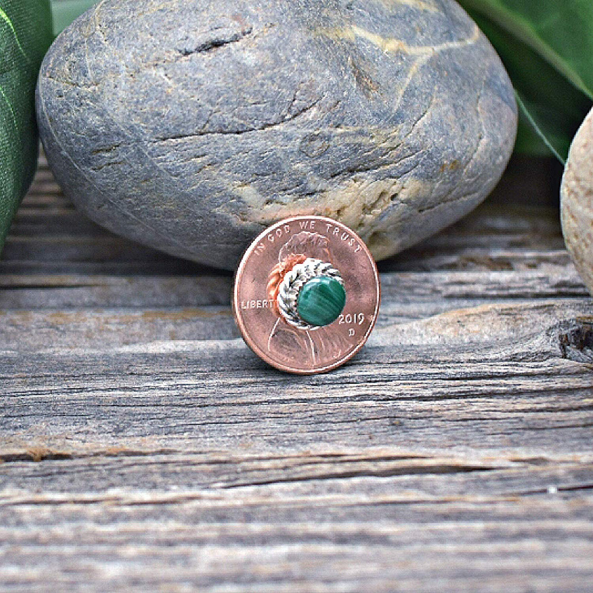 8mm Genuine Malachite Stud Earrings in 925 Sterling Silver, Round Style, Native American Handmade in the USA, Nickle Free, Dark Green