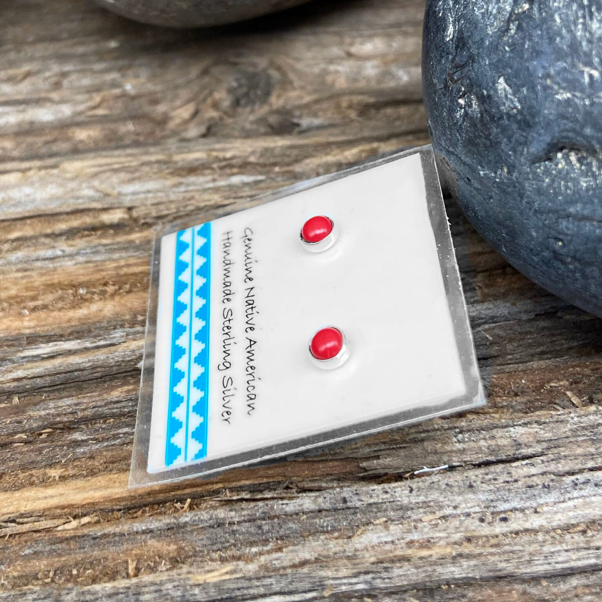 3mm Genuine Red Coral Stud Earrings in 925 Sterling Silver, Native American Handmade in the USA, Nickle Free