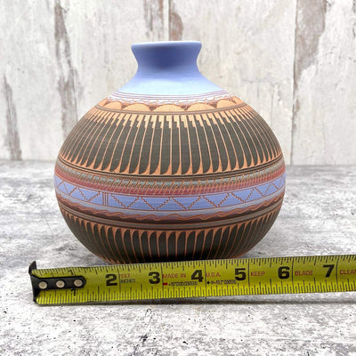 Authentic Native American Pottery, Traditional Seedpot Style, Genuine Navajo Tribe USA Handpainted and Etched, Artist Signed, Southwestern Home Decor Collectible