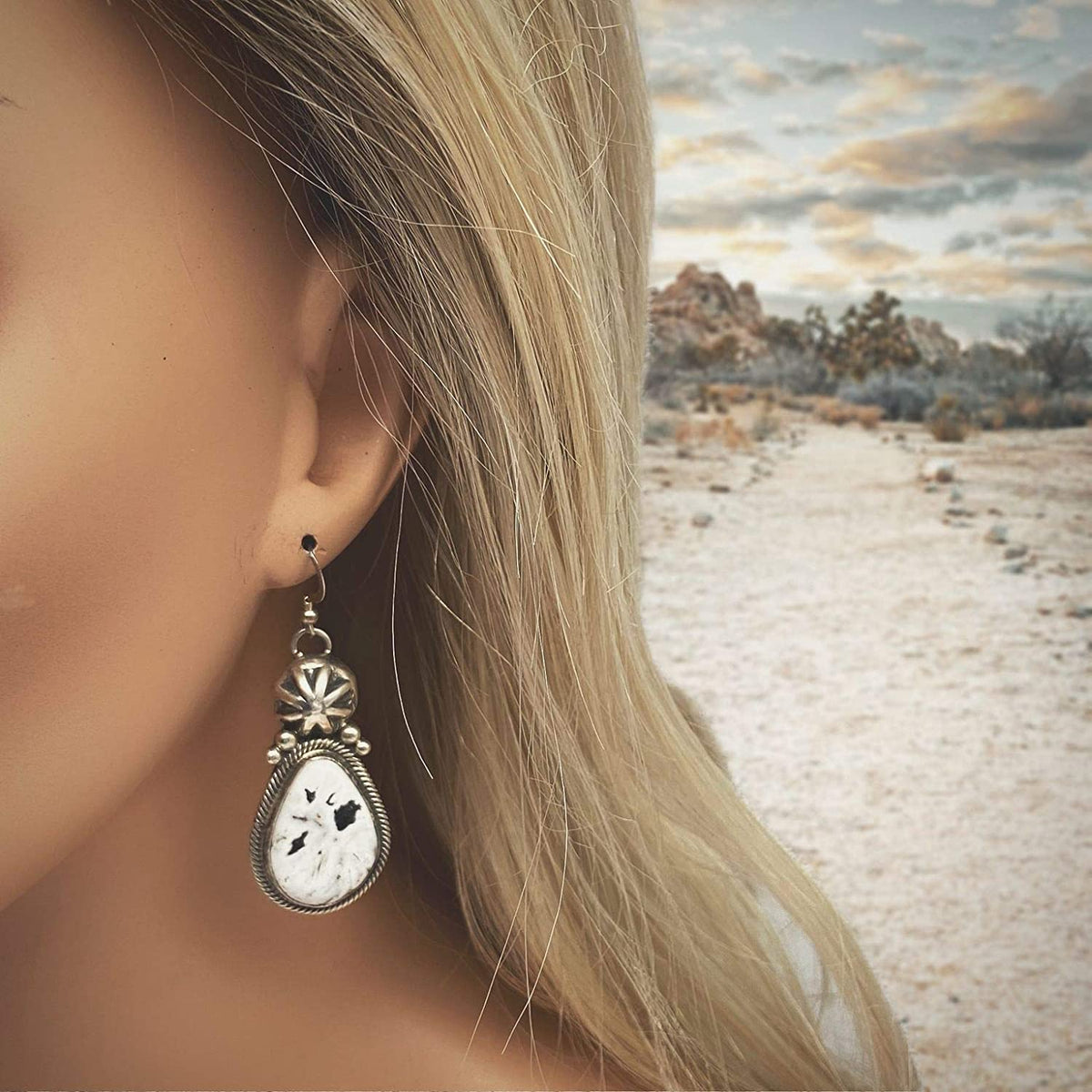 Genuine White Buffalo Stone Earrings, Sterling Silver, Authentic Navajo Native American USA Handmade, Artisan Signed, Nickle Free, French Hook, Southwest Vintage Style