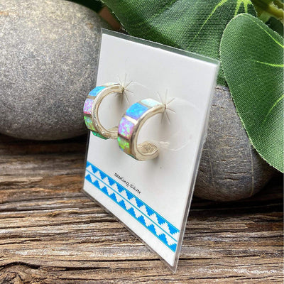 Genuine Stone Multicolor Hoop Earrings, 925 Sterling Silver, Native American USA Handmade, Nickle Free