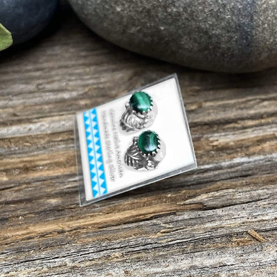 Genuine Malachite Stud Earrings, 925 Sterling Silver, Round Style Authentic Native American Handmade in the USA, Nickle Free, Dark Green