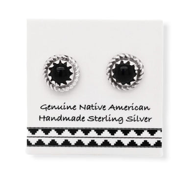 7mm Genuine Onyx Stud Earrings in 925 Sterling Silver, Authentic Native American USA Handmade, Round with Braid, Southwest Jewelry with Natural Black Stone