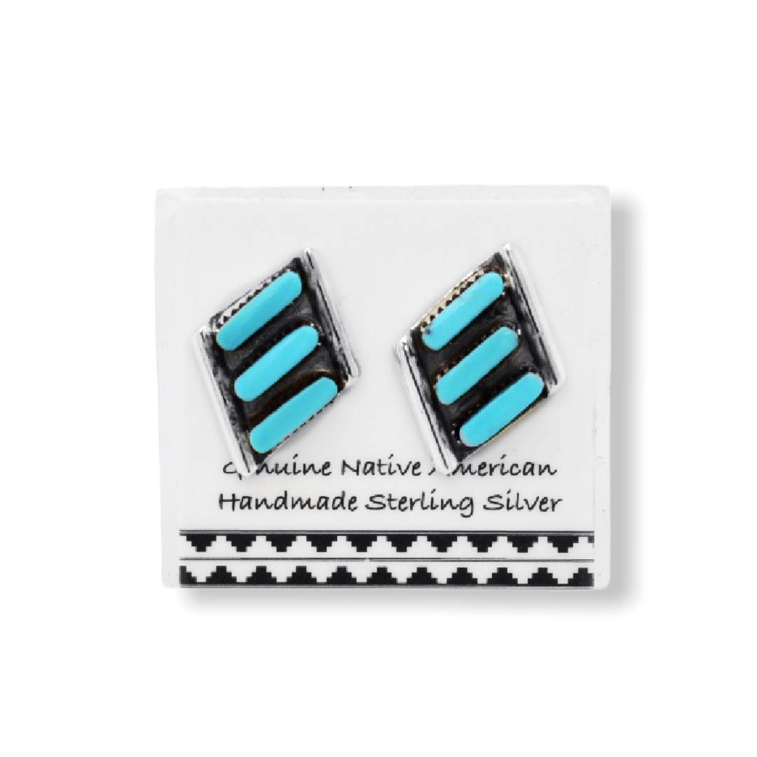 Genuine Sleeping Beauty Turquoise Stud Earrings in 925 Sterling Silver, Needlepoint Design, Authentic Native American, Handmade in the USA, Nickle Free