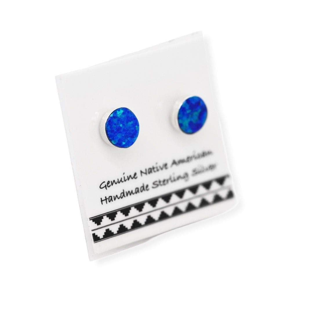 6mm Desert Opal Stud Earrings, 925 Sterling Silver, Native American USA Handmade, Dark Blue Synthetic Opal, Nickle Free, Round