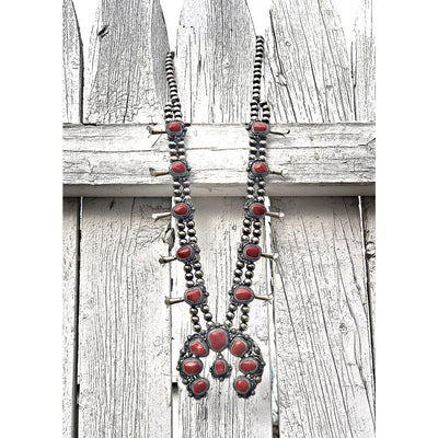 Genuine Natural Red Coral Squash Blossom Necklace and Earrings Set, 925 Sterling Silver, Navajo Artist Thomas Francisco Signed, Hallmarked