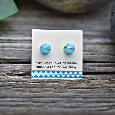 5mm Genuine Sleeping Beauty Turquoise Inlay Stud Earrings in 925 Sterling Silver, Authentic Native American Handmade, Nickle Free