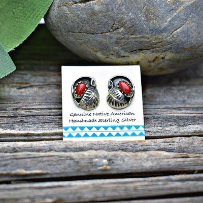 Genuine Red Coral Stud Earrings in 925 Sterling Silver, Authentic Native American Handmade, Nickle Free