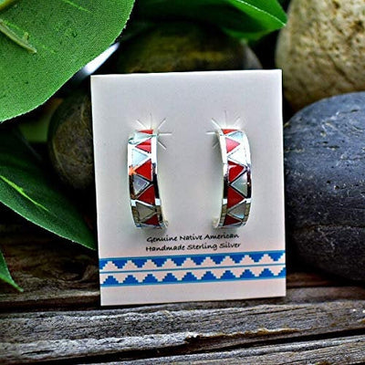 Red Coral and Moonstone Half Hoop Earrings in 925 Solid Sterling Silver, Authentic Native American Handmade, Nickle Free