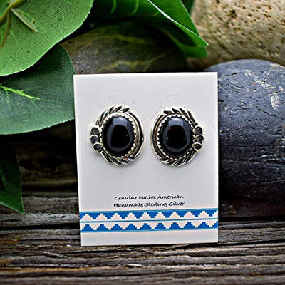 Genuine Onyx Earrings in 925 Sterling Silver, Authentic Navajo Native American Handmade, Southwest Jewelry with Natural Black Stone
