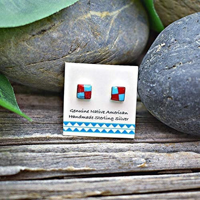 5mm Genuine Sleeping Beauty Turquoise and Coral Stud Earrings in 925 Sterling Silver,  Authentic Native American Handmade, Nickle Free