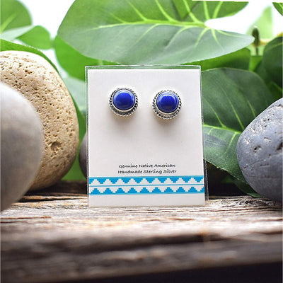 Genuine Lapis Lazuli Stud Earrings in 925 Sterling Silver, Southwest Style, Native American USA Handmade, Nickle Free, Navy Blue