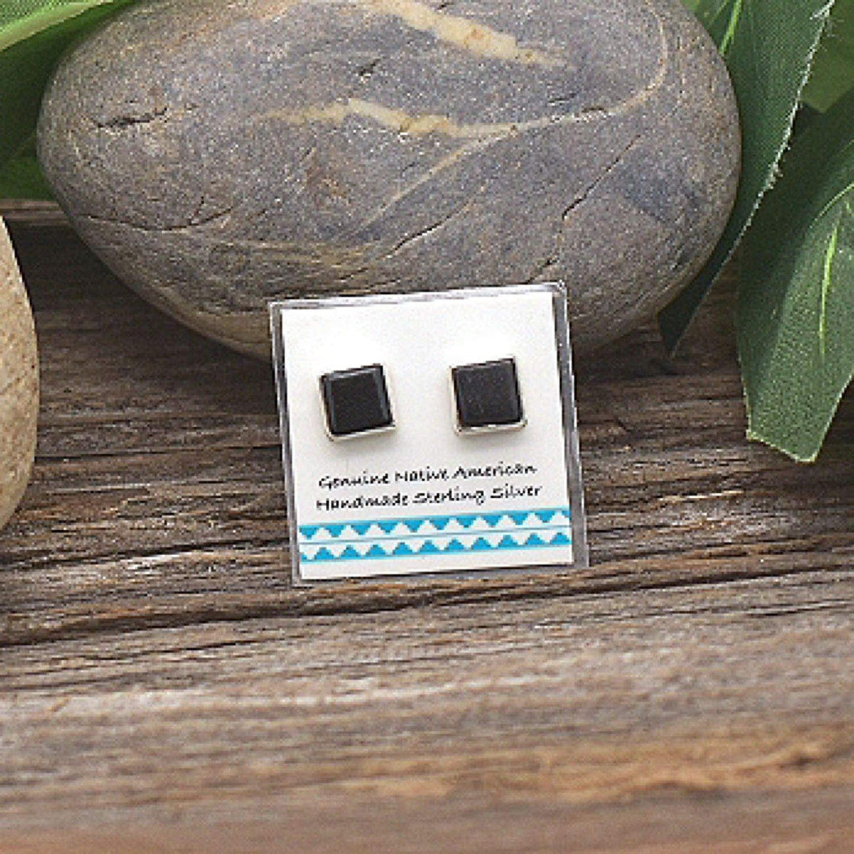6mm Genuine Black Onyx Stud Earrings in 925 Sterling Silver, Native American USA Handmade, Nickle Free, Square