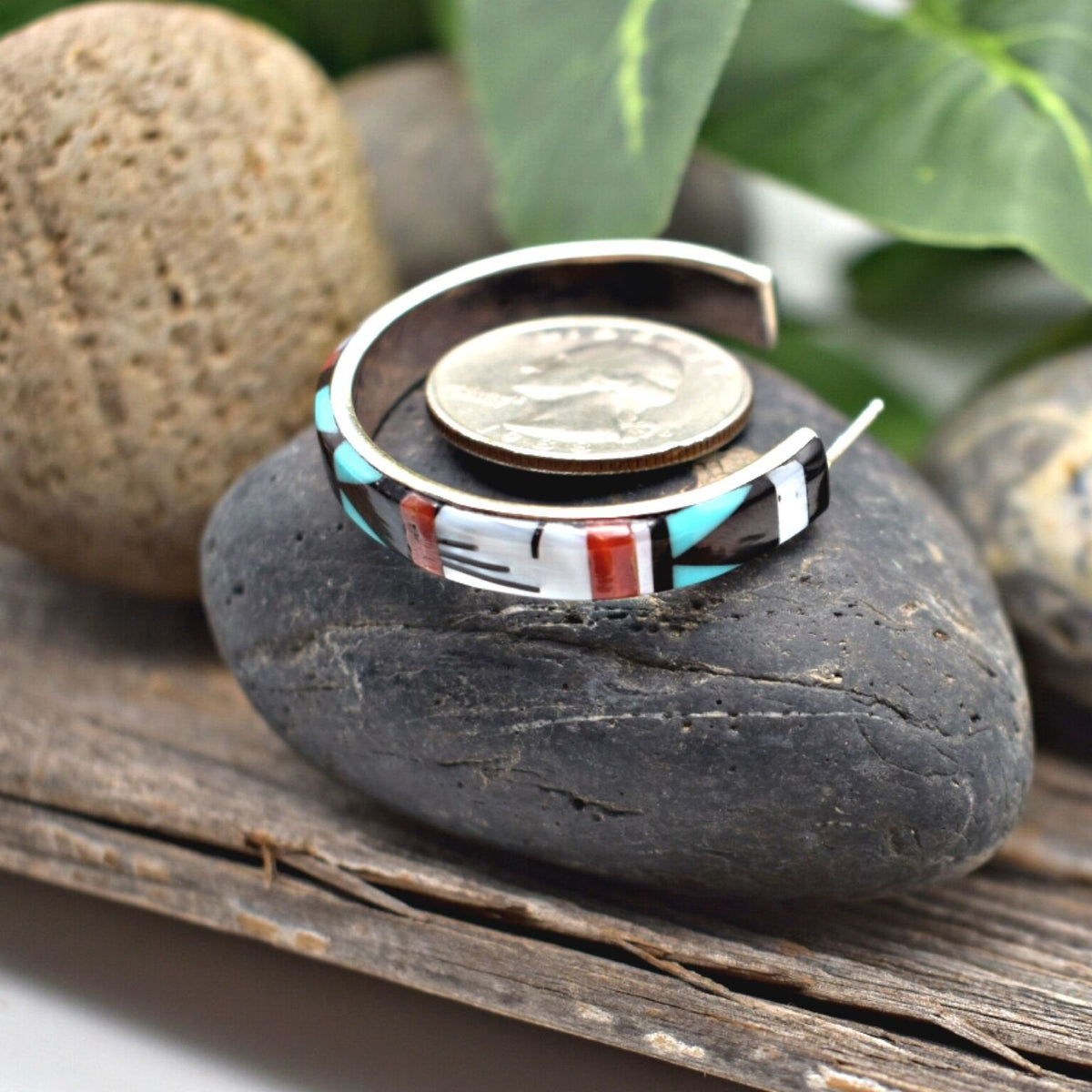 Genuine Stone Statement Hoop Earrings, Native American USA Handmade, Turquoise, Coral, Onyx, Mother of Pearl, Sterling Silver, Multicolor