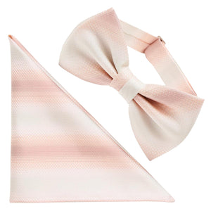 Men's Pre-Tied Adjustable Butterfly Bow Tie & Pocket Square Set 100% Silk -12. Horizon- Gradation Pattern Made in Japan