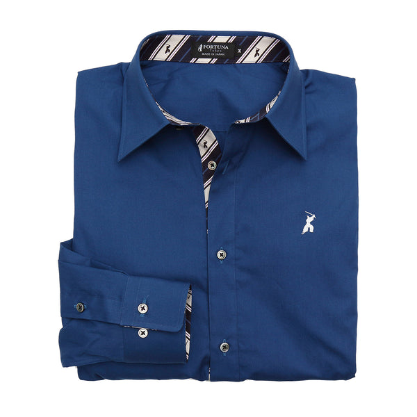 Men's Long Sleeve Regular Fit Cotton Broadcloth Dress Shirt -16. Samurai Blue- Made in Japan