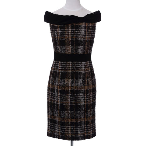 Ladies Loop Yarn Tweed One Piece Dress Check Pattern Made in Japan (Black)
