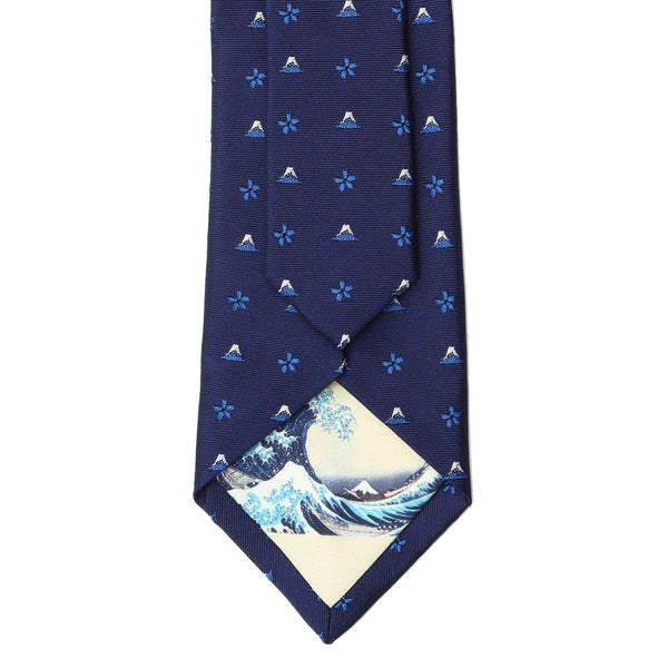 Men's Jacquard Woven 100% Kyoto Silk Tie -18. Hokusai Mt. Fuji Cherry Blossoms Pattern Made in Japan