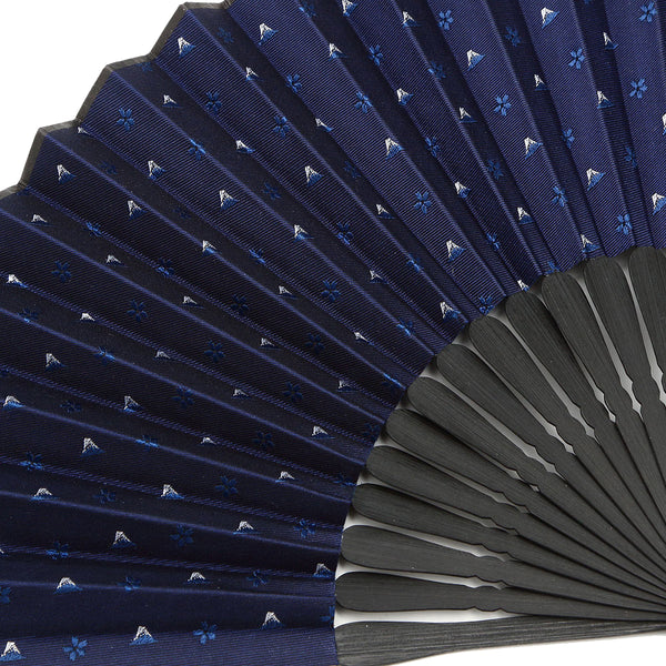 Hand Made Japanese Folding Fan -18.Hokusai Mt. Fuji Sakura Pattern with Silk & Bamboo Made in Japan