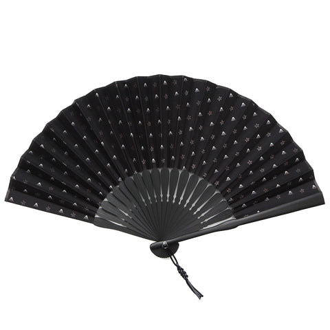 Folding Fan With Silk & Bamboo -18. HOKUSAI - Mt. Fuji Cherry Blossoms Pattern Made in Japan (Black)
