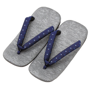 Men's Japanese Leather Soled Geta & Zori Sandals flip-flops Handmade with Silk Thongs -18. HOKUSAI