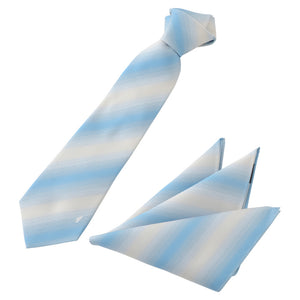 Men's Silk Tie & Pocket Square Set -12. Horizon - Gradation Pattern Made in Japan