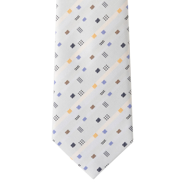 Men's Jacquard Woven 100% Kyoto Silk Tie -14. Romance Colorful Small Square Pattern Made in Japan
