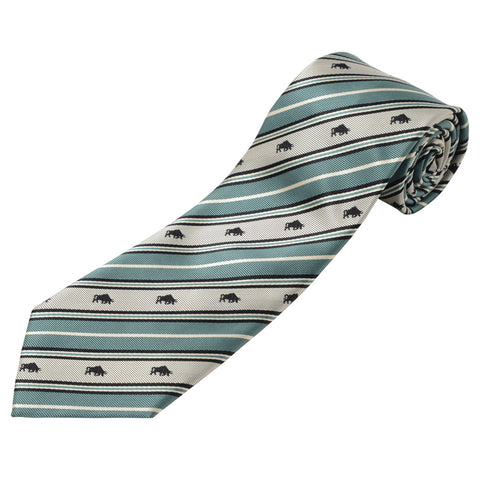Men's Jacquard Woven 100% Nishijin Kyoto Silk Tie -17. Success- Charging Bull Stripe Pattern Made in Japan