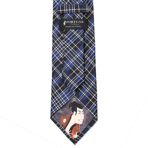 Men's Jacquard Woven 100% Nishijin Kyoto Silk Tie -20. UKIYOE- British Check Pattern Made in Japan