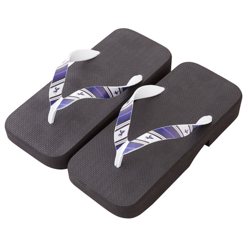 Men's Japanese Traditional Sandals -16. Samurai- Stripe Pattern Made in Japan (Navy)